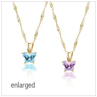 10kt gold butterfly birthstone necklace for kids. Black Bedroom Furniture Sets. Home Design Ideas