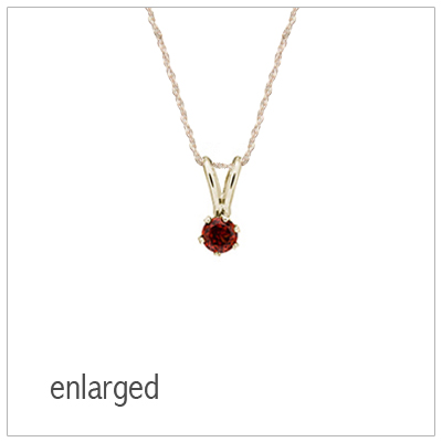 January birthstone necklace for girls in 14kt yellow gold with genuine birthstone.