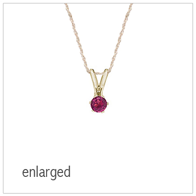 June birthstone necklace for girls in 14kt yellow gold with genuine birthstone.