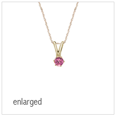 October birthstone necklace for girls in 14kt yellow gold with genuine birthstone.
