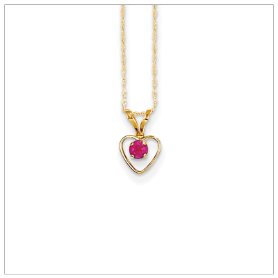 Birthstone necklace for July in 14kt gold, open heart set with genuine 3mm birthstone.