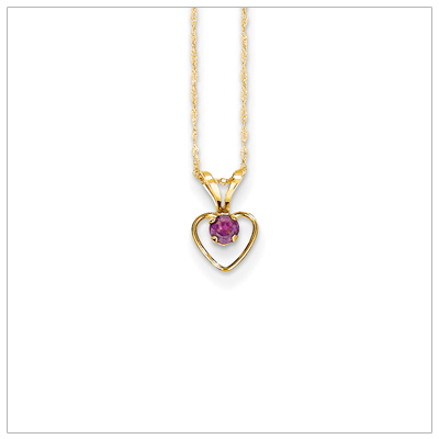 Birthstone necklace for June in 14kt gold, open heart set with genuine 3mm birthstone.