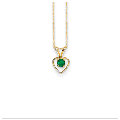 Birthstone necklace for May in 14kt gold, open heart set with genuine 3mm birthstone.
