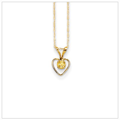Birthstone necklace for November in 14kt gold, open heart set with genuine 3mm birthstone.