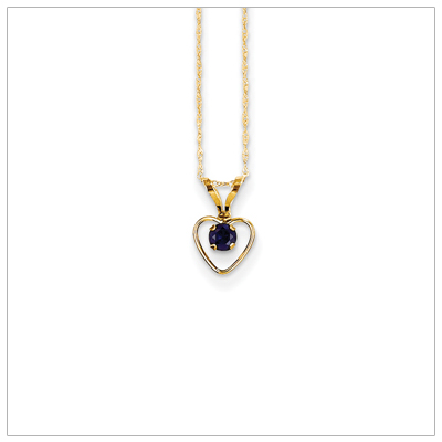 Birthstone necklace for September in 14kt gold, open heart set with genuine 3mm birthstone.