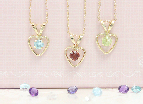 Heart shaped birthstone necklaces for children with genuine birthstones and chain included.
