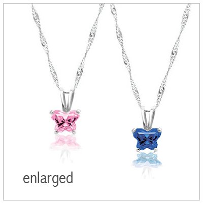 Birthstone necklace for children with a butterfly shaped birthstone. The birthstone necklace is sterling silver with a cz birthstone.