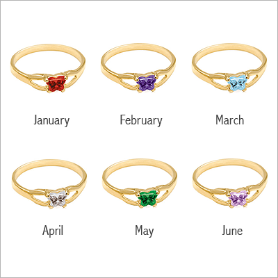 10kt Gold Butterfly Birthstone Ring - 1396