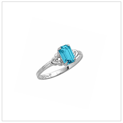 Sterling Square Birthstone Ring December Birthstone Ring