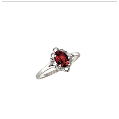 Silver birthstone ring for children with synthetic oval birthstone, January birthstone ring.