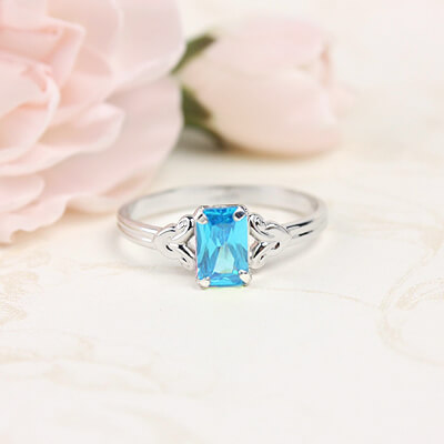 Sterling silver birthstone ring for girls with a synthetic square birthstone, December birthstone ring.