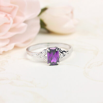 Sterling silver birthstone ring for girls with a synthetic square birthstone, February birthstone ring.