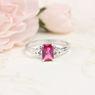 Sterling silver birthstone ring for girls with a synthetic square birthstone, July birthstone ring.