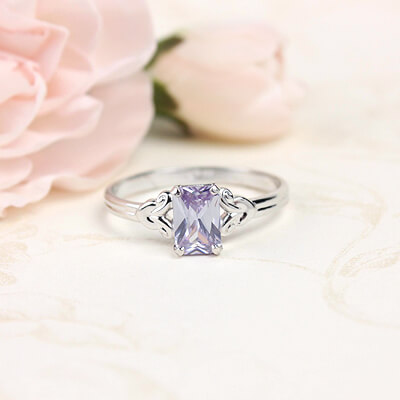 Sterling silver birthstone ring for girls with a synthetic square birthstone, June birthstone ring.