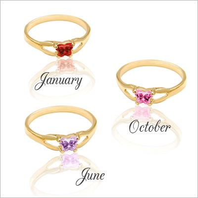 10kt Gold Butterfly Birthstone Ring - 1396