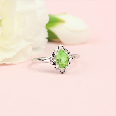 August birthstone ring for girls in sterling silver with a synthetic oval birthstone.