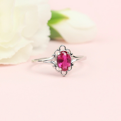 July birthstone ring for girls in sterling silver with a synthetic oval birthstone.