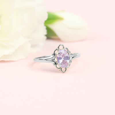 June birthstone ring for girls in sterling silver with a synthetic oval birthstone.