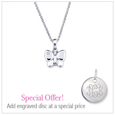 Sterling silver butterfly necklace for children set with genuine diamond. Add an engraved disc to the necklace at a special price.