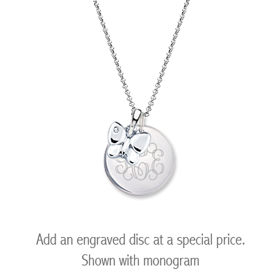 Sterling silver diamond butterfly necklace for children with personalized disc.