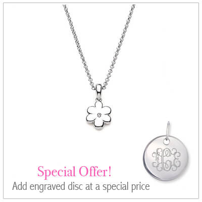 Sterling silver flower necklace for children set with genuine diamond. Add an engraved disc to the necklace at a special price.