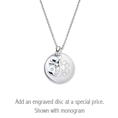 Sterling silver diamond kitten necklace for children with personalized disc.