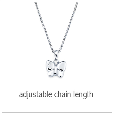 "Sterling silver butterfly necklace with 1pt diamond on its wing. Adjustable ""grow""chain. Kids jewelry"