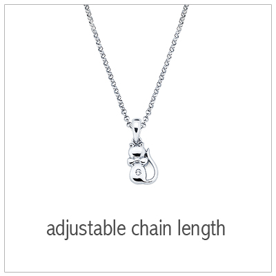 "Sterling silver cat necklace with a genuine diamond and tiny bow, adjustable ""grow""chain included."