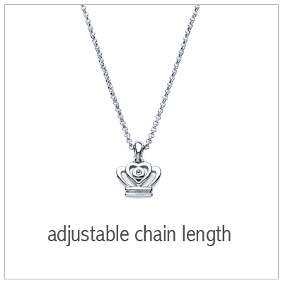 Sterling silver crown necklace with genuine diamond. Adjustable chain included. Kids jewelry