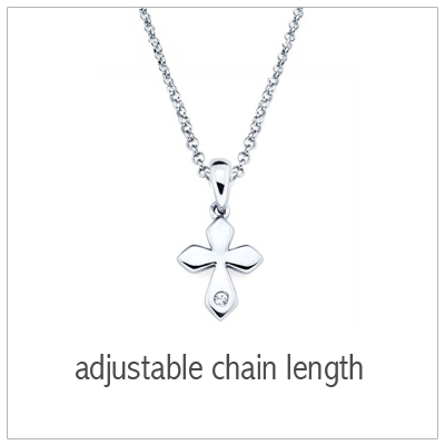 Kids Diamond Cross Necklace in sterling silver with melee diamond
