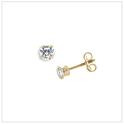 14kt gold 4mm cubic zirconia stud earrings for babies and children. The cz stud earrings have push on, screw off backs.