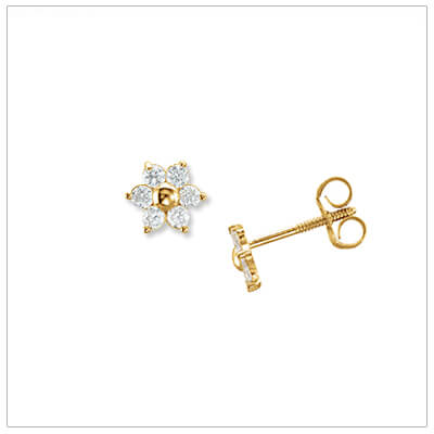 14kt flower cluster earrings for children with clear sparkling cubic zirconia; push-on and screw-off earring backs.