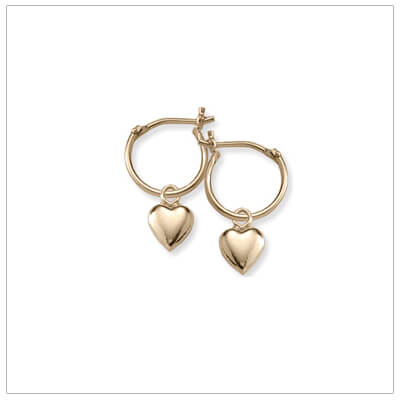 14kt gold hoop earrings for children with a dangling heart.