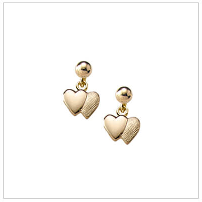 14kt gold double heart earrings for kids with screw backs.