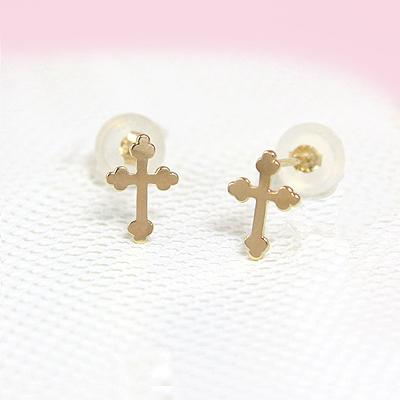 Girls 14kt gold Cross earrings with push on backs; budded Cross design.