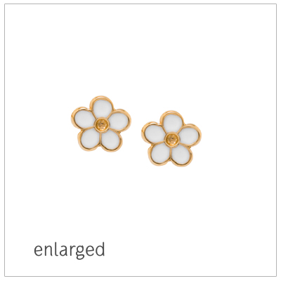 14kt screw back earrings for baby and child in a white daisy flower design.
