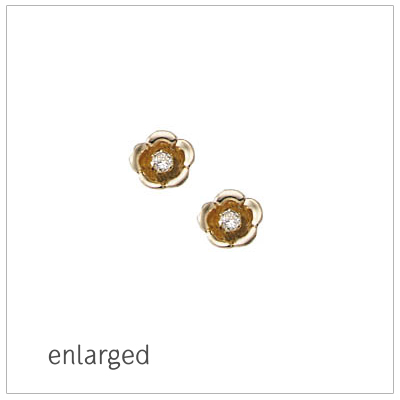 14kt yellow gold flower earrings for babies and children set with genuine diamonds. The flower earrings have screw backs.
