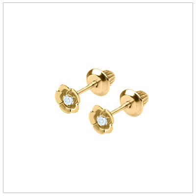 14kt gold flower earrings set with genuine diamonds for babies and children. Screw back diamond earrings.