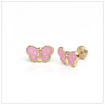 14kt pink polka dot butterfly earrings for children; screw back earrings.