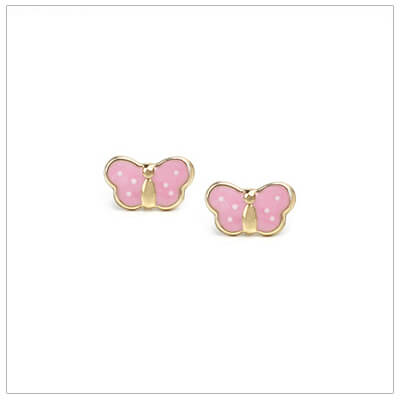 Tiny pink polka dot butterfly baby earrings in 14kt gold with screw backs.
