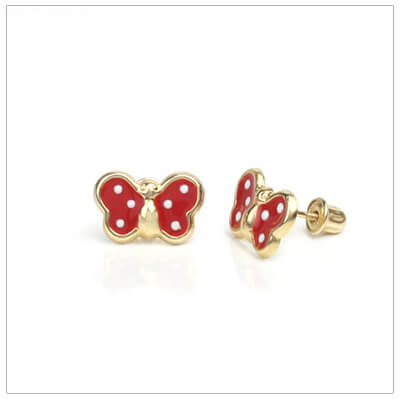 14kt red polka dot butterfly earrings for children; screw back earrings.