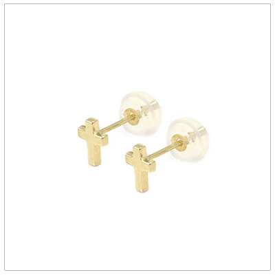 14kt gold small Cross earrings for babies and children with safety backs.
