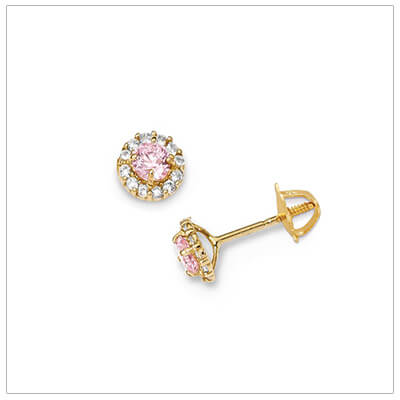 14kt gold childrens screw back earrings set with pink and clear cubic zirconia. Sparkly screw back earrings for kids.
