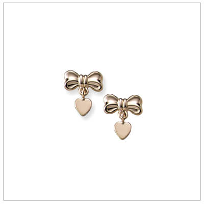 14kt gold bow and heart earrings for babies and children with screw backs.