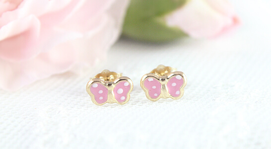 Children's gold earrings, pink butterflies with white polka dots are charming and available in two sizes.