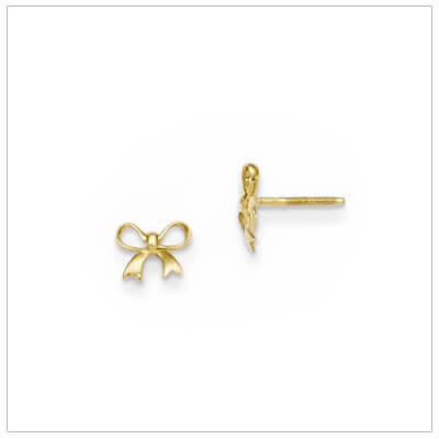 14kt small bow earrings for baby and child with gold push on backs.