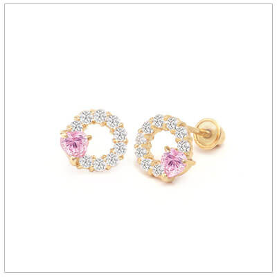 14kt round cluster earrings with clear sparkling cubic zirconia. A larger pink cz gives a delicate pink color. Screw back earrings for children.