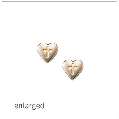 14kt gold heart earrings with engraved Cross for children. Gold heart screw back earrings.