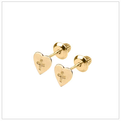 Gold filled heart earrings with engraved Cross for children. Girls screw back earrings.