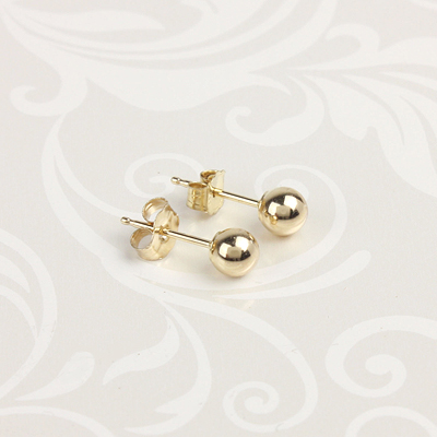 14kt gold ball earrings for babies and children.